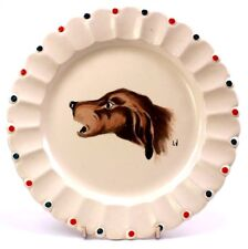 Vintage Longwy Pottery France Nemrod Hand Painted Enamel Dog Plate Signed LV