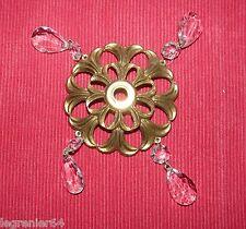 Coupelle bronze et Pampille de lustre ancien en cristal 424042