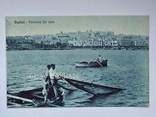 CAGLIARI Sardegna panorama dal mare pescatori reti vecchia cartolina