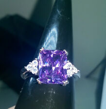 EMERALD CUT AMETHYST RING SILVER FILLED SIZE S