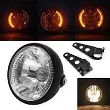 "Universal 7"" Motorcycle Bike Headlight LED Turn Signal Light Black Bracket Mount"