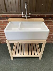 Belfast Sink Stand Unit , Oak Ledge & Large Ceramic Double Sink & Lever Taps