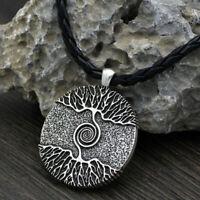 Odins Nordic Viking Baum of life Halskette Anhänger Wikinger Leder Kette Ethno
