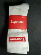 Supreme White Crew Socks x3 pairs Eur 40/45 Uk 6.5/10