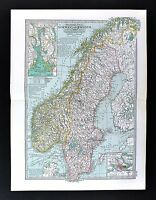 1898 Century Atlas Map - Sweden & Norway - Oslo Stockholm Kristania Fjord Bergen