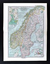 1898 Century Atlas Map - Sweden & Norway - Oslo Stockholm Kristania Fjord Bergen