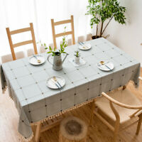Cotton Linen Tassel Tablecloth Table Cloth Covers Rectangle Washable Home Decor