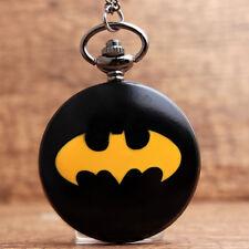 New Black Batman Fob Quartz Pocket Watch Necklace Chain for Men Gift Box