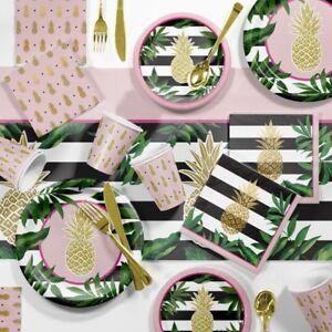 Luau Golden Foil Pineapple Party Garden Troplcal Palm Tree Table Decorations