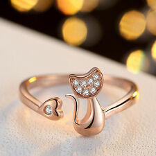 Korean crystal 925 sliver plated cute little kitty ring finger ring adjustable