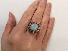Genuine Opaque Aquamarine & Multi Color Sapphire Flower Silver Ring Size 7