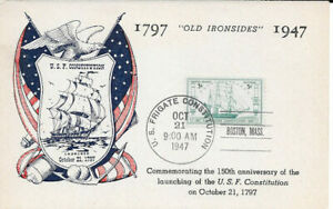 """#951 First Day Souvenir Card 3c """"Old Ironsides"""" w/FDC"""