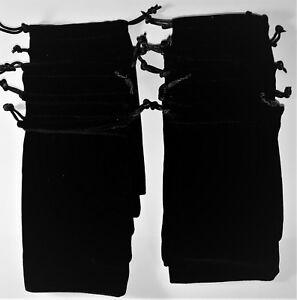 10 x Soft Black Velvet Drawstring Pouches Jewellery Wedding Pouch Bag 9 x 15cm