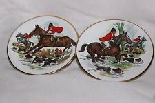 2 Vintage Pall Mall Ware F. W.R.  Hunting Scene Horse Dogs Trinket Dish
