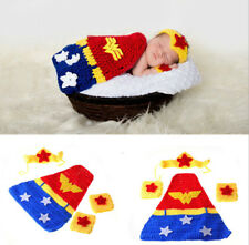 Newborn Baby Wonder Woman Crochet Knit Costume Photo Photography Prop Outfits