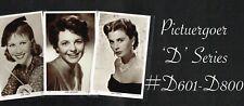 PICTUREGOER - D Series 1950s ☆ FILM STAR ☆ Postcards #D601 to #D800