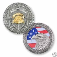 "POLICE OFFICER POLICEMAN FLAG EAGLE PROTECT DEFEND SERVE 1.75"" CHALLENGE COIN"