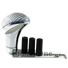 Car Carbon Fiber Aluminum Universal Manual Gear Shifter Knob Speed Lever Silver