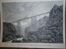 Gravure 19° chemin de fer train Viaduc de Varrugas andes Pérou