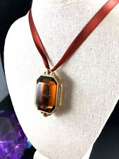 CHRISTIAN DIOR 'GOLDEN DIOR' SATIN RIBBON AMBER GLASS MIRROR MAKEUP PENDANT