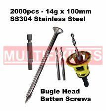 2000pcs - 14g x 100mm Stainless SS304 Bugle Head Screws + Macsim Clever Tool