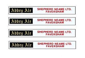 4 MODEL BUS WATERSLIDE TRANSFERS 1/76th SIDE ADS ABBEY ALE SHEPHERD NEAME KENT
