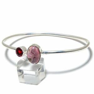 Rhodochrosite, Garnet Gemstone Handmade 925 Silver Cuff Bracelet Adjustable