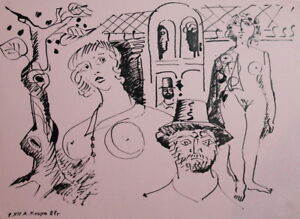 1987 ABSTRACT NUDE WOMEN MALE TREE INK PAINTING SIGNED