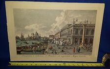 Rare 18c ANTONIO VISENTINI color Engraved Litho-Etching PROSPECTUS MAGNI CANALIS