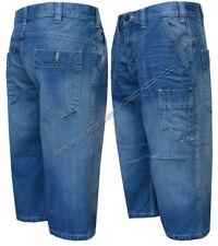 "New Mens Flat Front Casual Denim Regular Fit Shorts 3/4 Length Pants 32""- 42"""