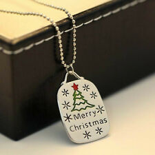 Merry Christmas Jewelry Pendants Necklaces Xmas Tree &Snow For New Year Gifts