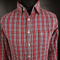 Paul Smith Mens THICK Shirt 2XL Long Sleeve Red Regular Fit Check Cotton