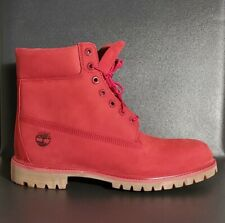 Timberland Men's 6-Inch Premium Waterproof Boots Red Nubuck A1149 Size 11