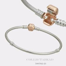 "Authentic Pandora Silver w/ PANDORA Rose Barrel Clasp 8.3"" Bracelet 580702-21"