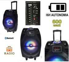 CASSA ATTIVA 500W BLUETOOTH WOOFER  attiva RICARICABILE TROLLEY USB/SD