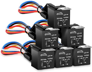 GOOACC - G-RE6 6 Pack Automotive Relay Harness Set 5-Pin 30/40A 12V SPDT with