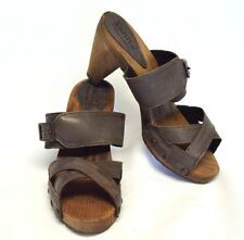 NEW Sanita womens 6.5 7 37 Isaberg Sandals Taupe Leather Cross Strap Wood Soles