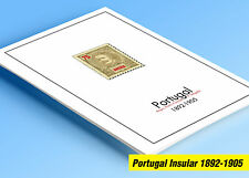 COLOR PRINTED INSULAR PORTUGAL 1892-1905 STAMP ALBUM PAGES (9 illustrated pages)
