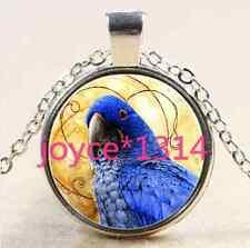 Vintage Parrot Cabochon Tibetan silver Glass Chain Pendant Necklace #1781