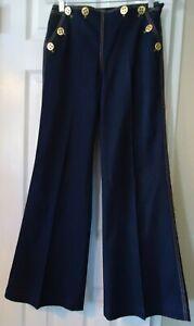 Escada Navy Blue Denim Sailor Gold Buttons Side Zipper Wide Leg Jeans - Size 34