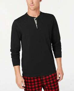 $94 Perry Ellis Men Black Crew-Neck Henley Sleep Pajama PJ Long-Sleeve T Shirt M