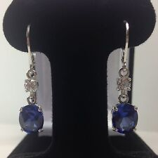 GORGEOUS 6ct Blue & White Sapphire Sterling Silver Earrings Dangle Oval NWT