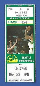 Michael Jordan 1989 Ticket Stub - 03/25/89 vs Seattle Sonics Chicago Bulls