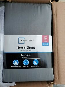 Mainstays 300 Thread Count Fitted fullsize Sheet gray