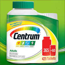 Centrum Adults Under 50 Multi Vitamin Mineral 365+60 2 Bottles Total 425 Tablets