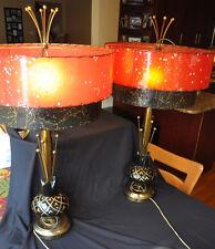 Vintage Mid Century Modern Pair Lamps Shades Red Starburst