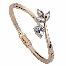 Rose Gold Bracelet Slender Inlay Flower Water Drop Crystal Chain Bangle Cuff