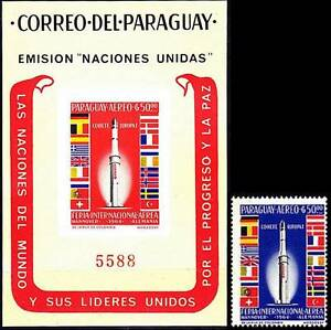 PARAGUAY 1964 EUROPA SPACE PROGRAM + SCARCE imperf.S/s SC#835-a MNH CV$50.00