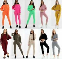 Ladies Cable Knitted Off Shoulder Top Bottoms 2PCS Suit Loungewear Tracksuit Set