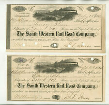 1884 1886 SOUTH WESTERN RAIL ROAD COMPANY GEORGIA STOCK CERTIFICATES
